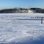 Vorsicht auf dem Seerundweg und den Eisflächen auf dem Bostalsee