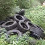 30 Autoreifen illegal im Gebüsch entsorgt