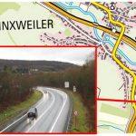 Landesbetrieb für Straßenbau erläutert neue Fahrbahnmarkierung auf der B 41 bei Niederlinxweiler