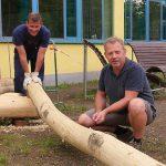 Baummikado bereichert den Schulhof der Gemeinschaftsschule Marpingen